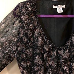 Nine West Romantic Tie Back Blouse Sheer Sleeves